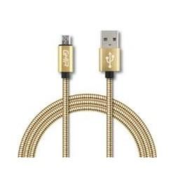 CABLE MICRO USB FORRO METALICO GHIA 1.0 MTS USB 2.1 CARGADOR Y TRANSFERENCIA DE DATOS DORADO