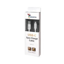 CABLE ADATA TIPO-C A USB 3.0 100CM 2.1A PLATEADO ANDROID/WINDOWS, PUERTO TIPO-C REVERSIBLE