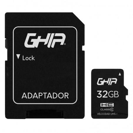 MEMORIA GHIA 32 GB TIPO MICRO SD CLASE 10 CON ADAPTADOR