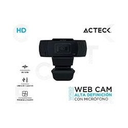 CAMARA WEB ACTECK/ HD/CON MICROFONO/RECONOCIMIENTO DE VOZ HASTA 5 M/ COLOR NEGRO/AC-931250
