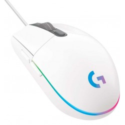 MOUSE LOGITECH G203 LIGHTSYNC GAMING WHITE OPTICO ALAMBRICO USB ILUMINACIÓN RGB AJUSTABLE 6 BOTONES