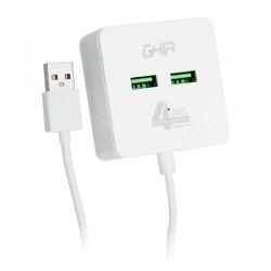 HUB USB 2.0 GHIA DE 4 PUERTOS / TRANSFERENCIA DE DATOS/CABLE 0.50 CM