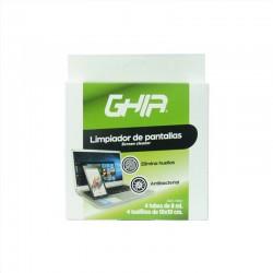 KIT DE LIMPIEZA PORTATIL GHIA CON 4 SPRAYS 8ML Y 4 MICROFIBRAS PARA PANTALLAS Y DISPOSITIVOS ANTIBACTERIAL