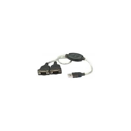 CABLE CONVERTIDOR MANHATTAN USB A 2 PUERTOS SERIAL DB9 RS232