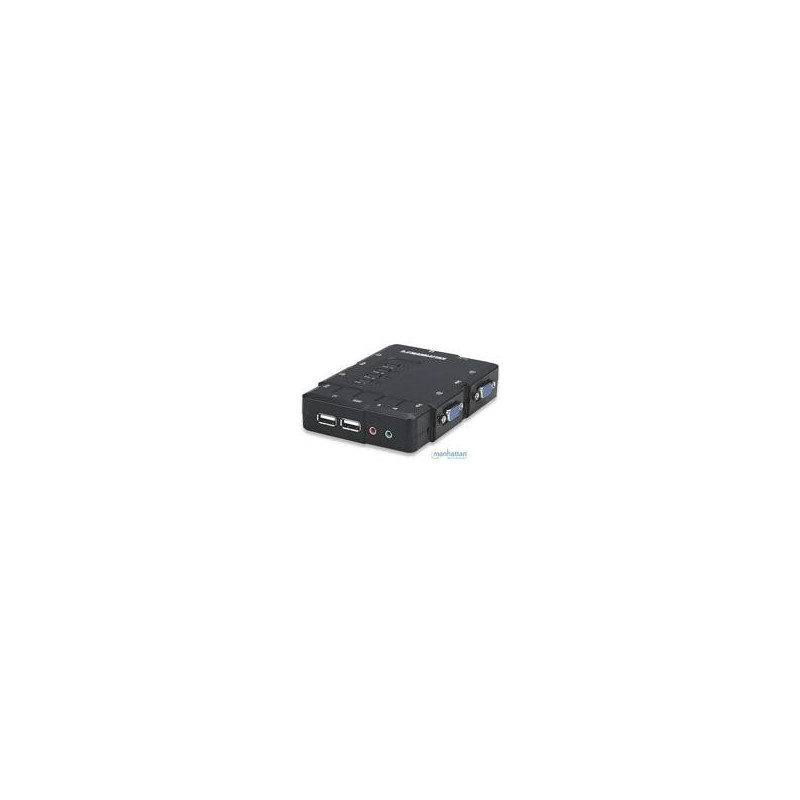 SWITCH KVM MANHATTAN 4 PTOS USB Y 4 PTOSVGA 3.5MM 1600X900 CON JUEGO CABLES