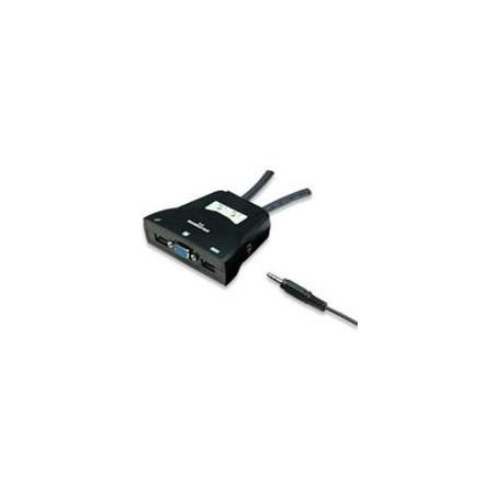 SWITCH KVM MANHATTAN 2 PTOS USB Y 2 PTOSVGA 3.5MM 1600X900 CON JUEGO CABLES