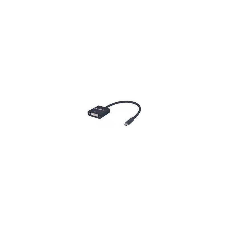 CONVERTIDOR DE VIDEO  MANHATTAN USB  3.1 TIPO C MACHO  A DVI HEMBRA COLOR NEGRO