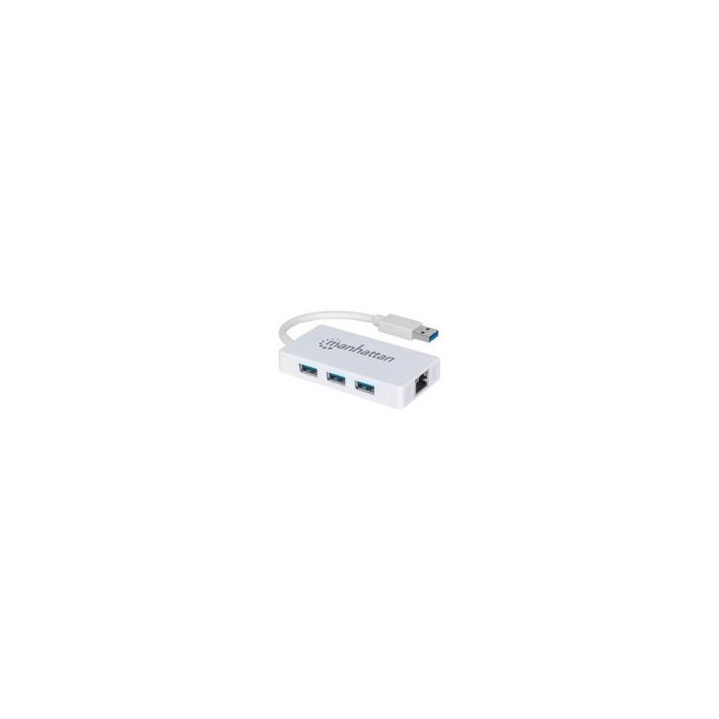 HUB MANHATTAN DE 3 PUERTOS USB 3.0 CON ADAPTADOR GIGABIT ETHERNET. UN PUERTO 10/100/1000 MBPS