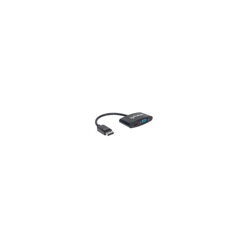 ADAPTADOR MANHATTAN DISPLAYPORT A HDMI VGA 2-1 4K M-H