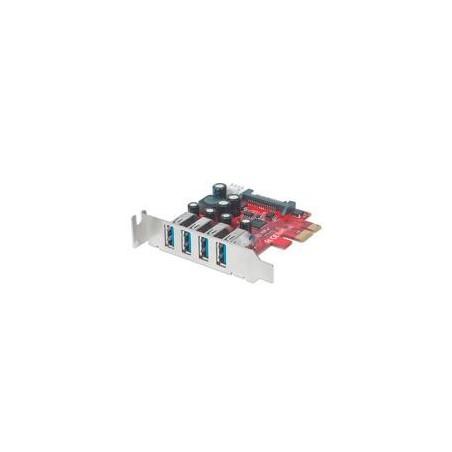 TARJETA USB V3 PCI EXPRESS 4 PTOS CORTO-BRACKET  MANHATTAN